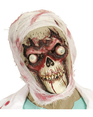 Adults' zombie skull with bulging eyes mask