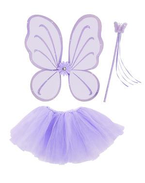 Tyttöjen violetti Keiju-asustesetti
