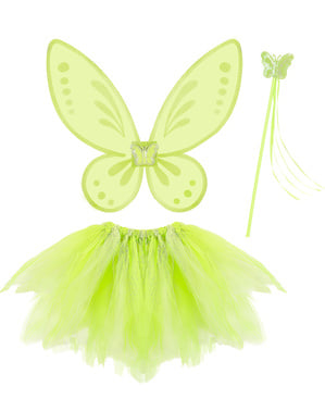 Girls' green fairy costume kit