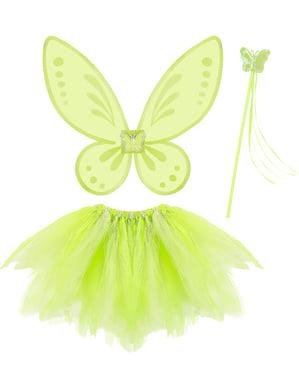 Set Maskeraddräkt sagofe grön barn