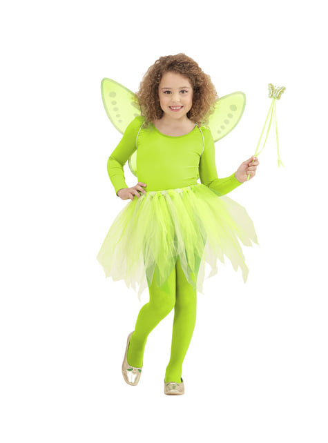 Kit disfraz de hada verde para niña - original