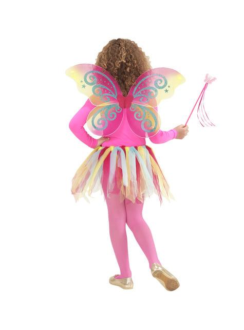 Alas de mariposa rosa con purpurina para niña - original