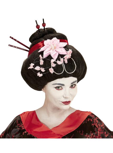 Peluca de geisha con flores para mujer