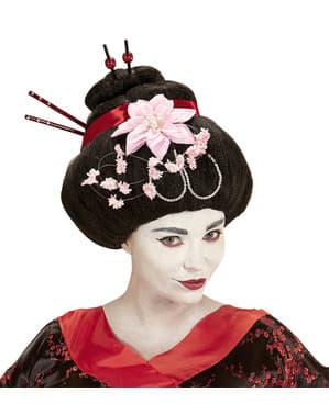 Peruca de geisha com flores para mulher