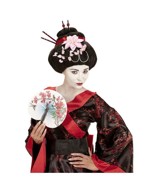 Peluca de geisha con flores para mujer - para tu disfraz