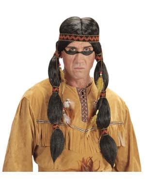 Zittende Indianen Stier pruik voor volwassenen