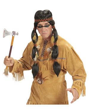 Indianer Perücke mit Zöpfen für Herren