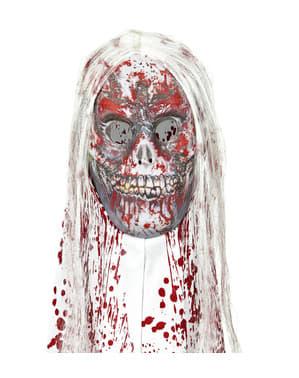Blodig zombie maske med hår
