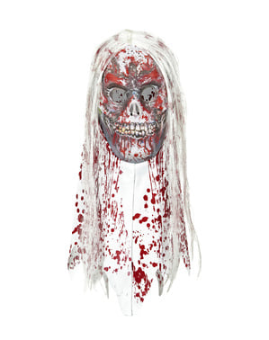 Bloodied zombie mask with hair