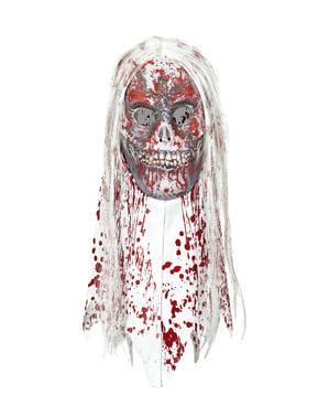 Máscara de zombie ensanguentado com cabelo