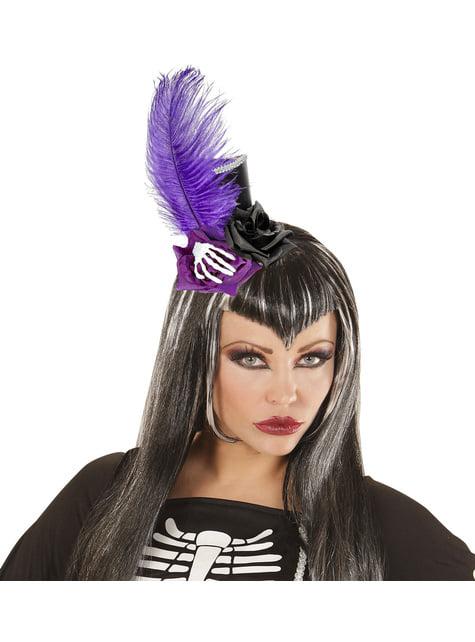 Mini sombrero gótico con plumas y huesos - para tu disfraz