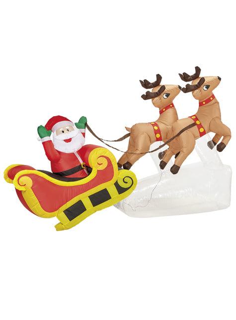 Figura decorativa de Papá Noel con renos hinchable gigante