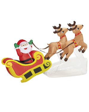 Père Noël avec rennes gonflable géant