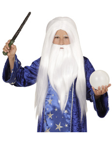 Peluca de mago merlín con barba infantil
