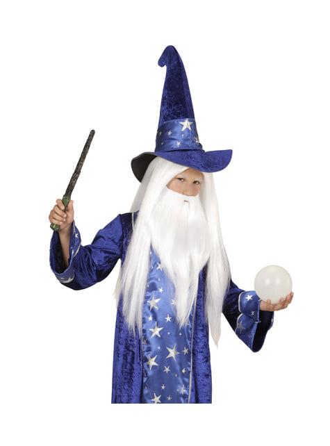 Peluca de mago merlín con barba infantil - para tu disfraz