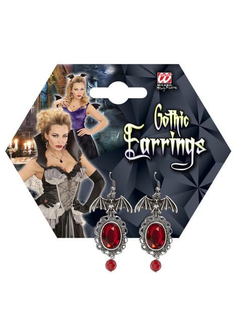 Set de pendientes de murciélago con gemas para mujer - para tu disfraz