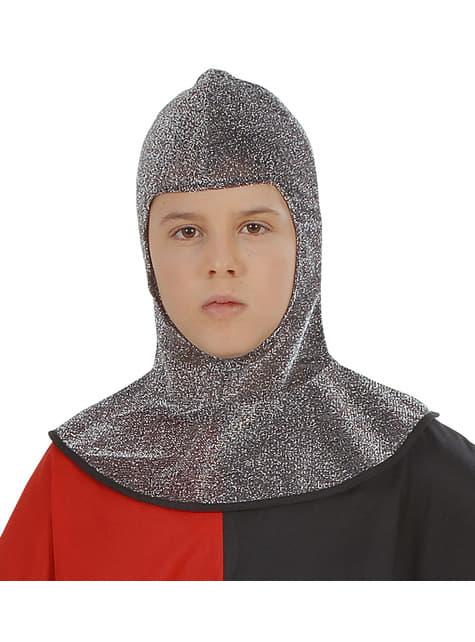 Chlapecký středověký kostým popravčího s drátenou kapucí