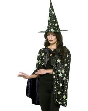 Kit Fato de bruxa da meia-noite para mulher