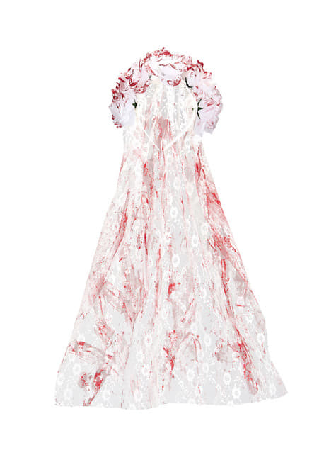 Women's bloodstained bridal veil