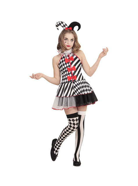 Maskeraddräkt busig Harley Quinn för flicka