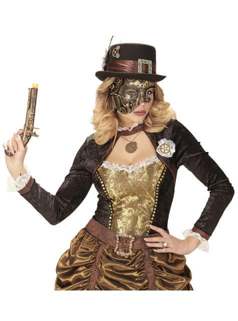 Media máscara steampunk para adulto - original
