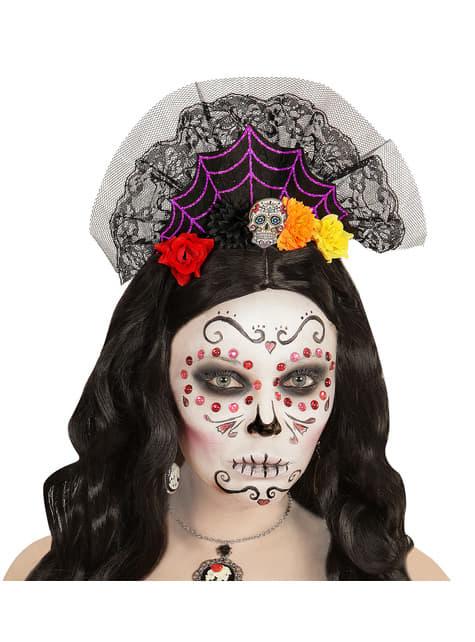 Diadema con velo de día de los muertos para mujer - para tu disfraz