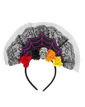 Day of the Dead hårbånd med slør til kvinder