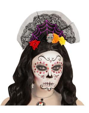 Bandolete com véu de dia dos mortos para mulher