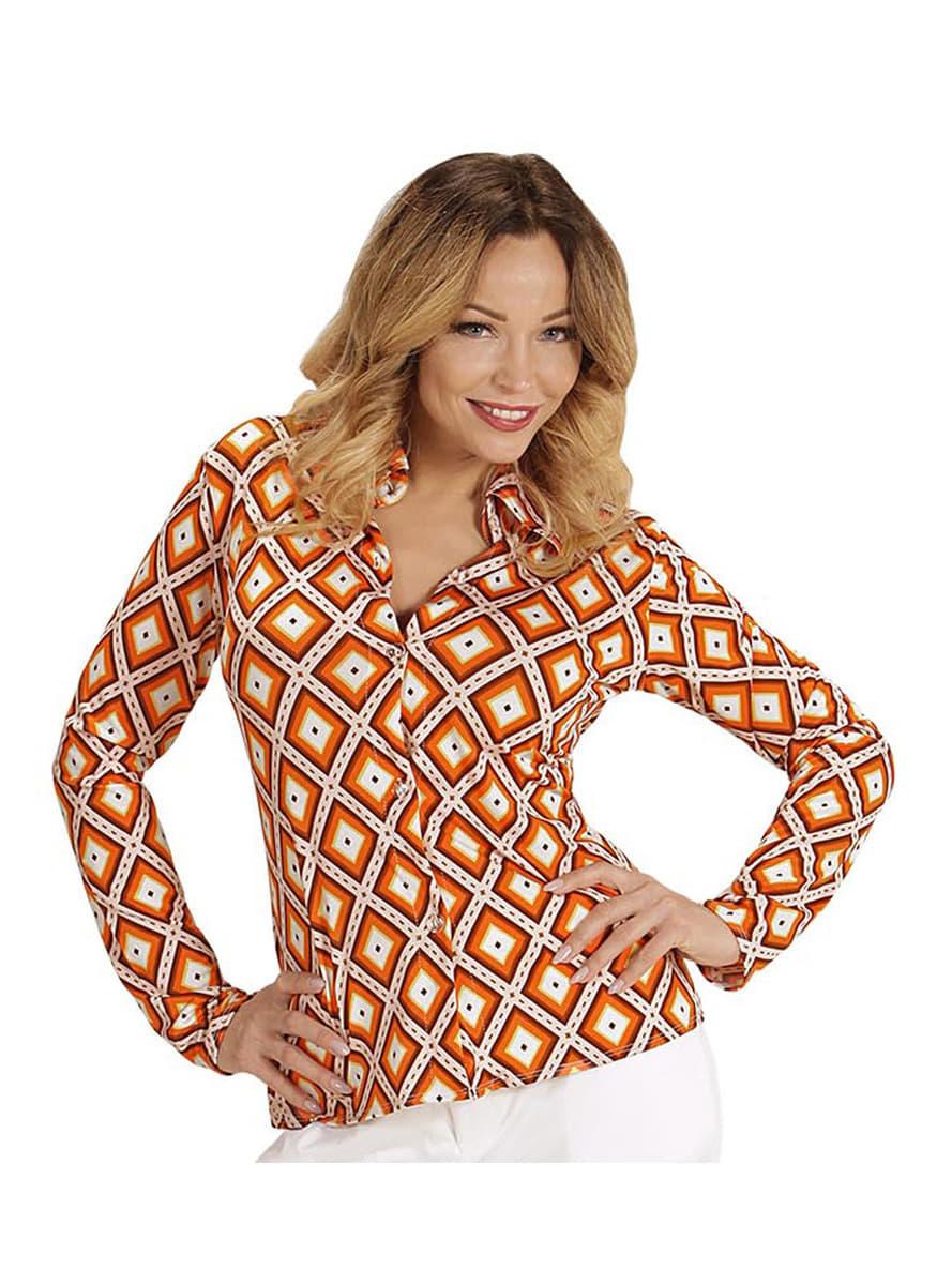 chemise retro losanges ann es 70 femme funidelia. Black Bedroom Furniture Sets. Home Design Ideas