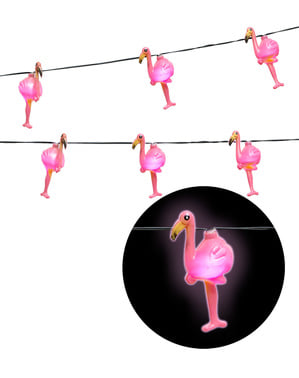 Lysande girlang med flamingos