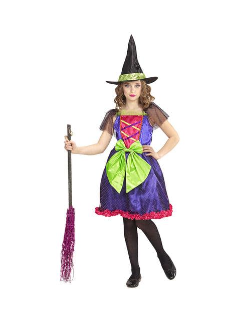Fato de bruxa multicolor para menina