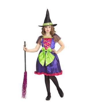 Costum de vrăjitoare multicolor pentru fată