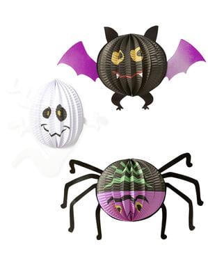 3 Halloween papír lámpák (20-27-29 cm)