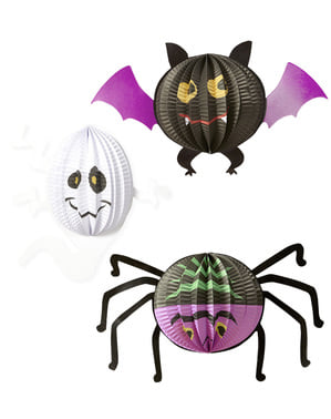 3 Halloween Papir Lanterner (20-27-29 cm)