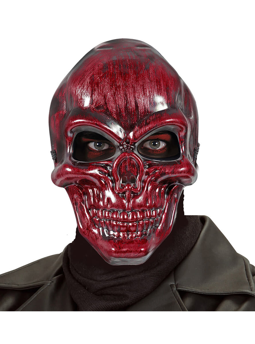 Adults Red Metallic Skull Mask The Coolest Funidelia