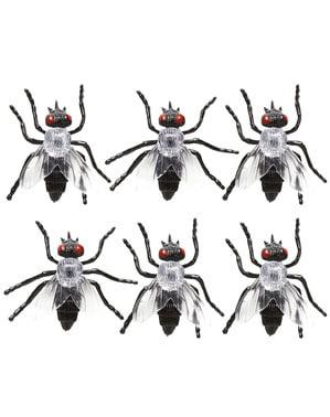 Sett med 6 infiserte fluer