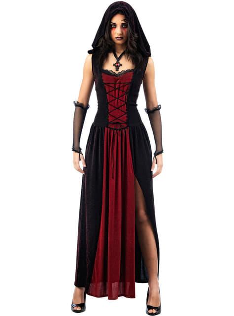 Strój gotycki z kapturem dla kobiet