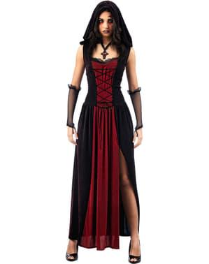 Disfarce de gótica com capuz para mulher
