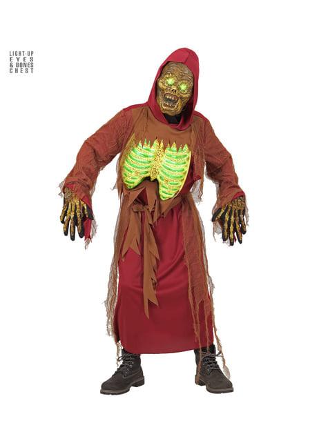 Children's illuminated zombie skeleton costume