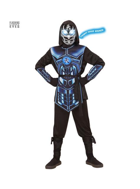 Children's blue cyber ninja costume