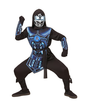 Kids blue cyber ninja costume