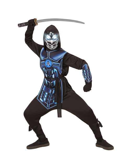 Fato de cyber ninja azul infantil