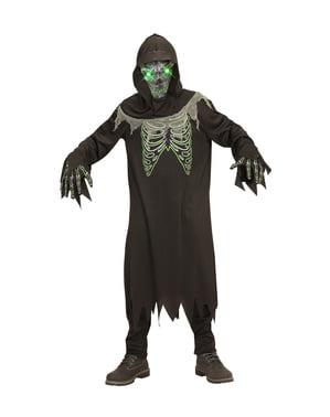 Belyst sjeletyv død kostyme for gutter