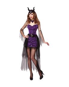 Disfraz de reina maléfica morada para mujer