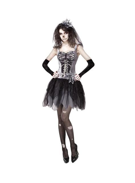 Disfarce de noiva esqueleto da escuridão sexy de Halloween para mulher