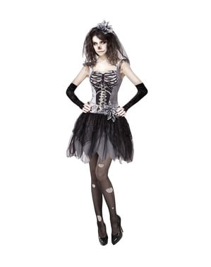 Dark Sexy Halloween Skeleton Bride Costume for Women