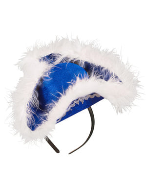 Bandolete de tricórnio azul com marabu para mulher
