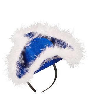 Diadem niebieski kapelusz z futerkiem damski
