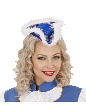 Diademă cu tricorn albastru cu marabu pentru femeie