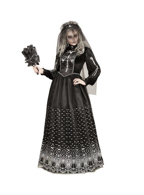 Dark Halloween Skeleton Bride Costume for Women